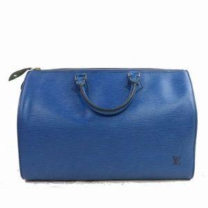 Auth Louis Vuitton Speedy 35 Blue Epi #1074L22